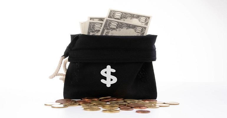 Money bag with dollar symbol on white background