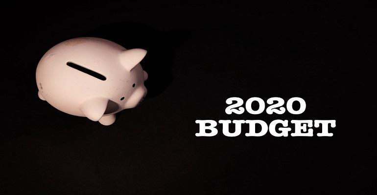 Piggy bank with 2020 budget text